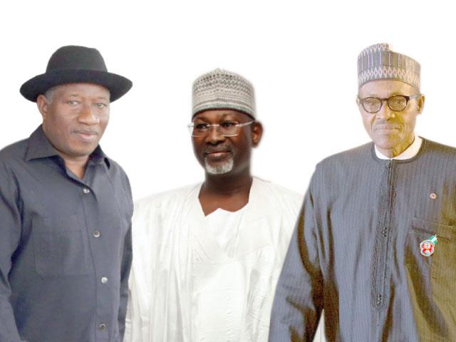 The trio President Buhari, ex-President Goodluck Jonathan and ex INEC chairman, Attahiru Jega