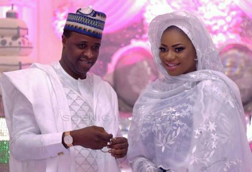 Femi Adebayo and his bride at their Nikkah wedding on Saturday