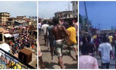 COVID-19 lockdown: Mushin residents March towards Ilupeju to take on one million boys (video)