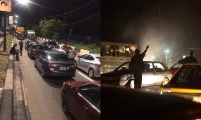 Motorists spend the night at Osborne Road in Ikoyi for violating curfew order