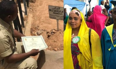 SAD! Nigerian man presents NYSC certificate to late mum at her grave (photo)